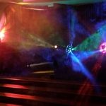A typical school disco package including disco lights